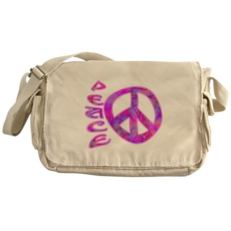 Pink Peace Messenger Bag