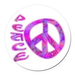 Pink Peace Round Car Magnet