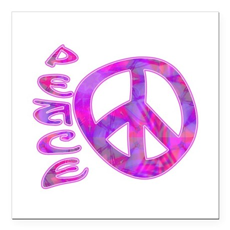 "Pink Peace Square Car Magnet 3"" x 3"""