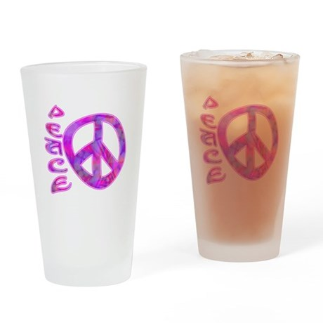 Pink Peace Drinking Glass