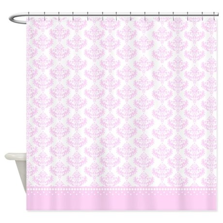 white and pink damask shower curtain with pink bottom base