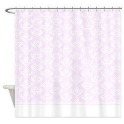 girly shabby chic pastel pink damask shower curtain for pink bathrooms