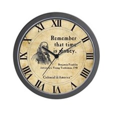 Benjamin Franklin Wall Clock - Time is Money