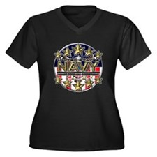 USN Navy Honor RWB Women's Plus Size V-Neck Dark T