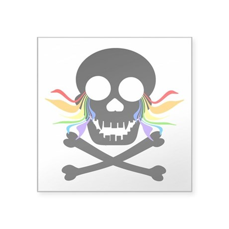 "Black Skull Rainbow Tears Square Sticker 3"" x"