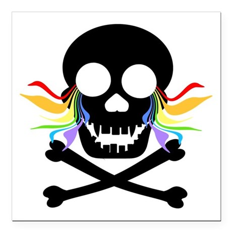 Black Skull Rainbow Tears Square Car Magnet 3&quot