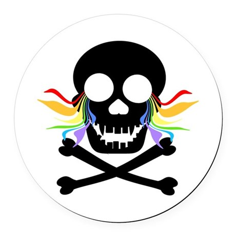 Black Skull Rainbow Tears Round Car Magnet