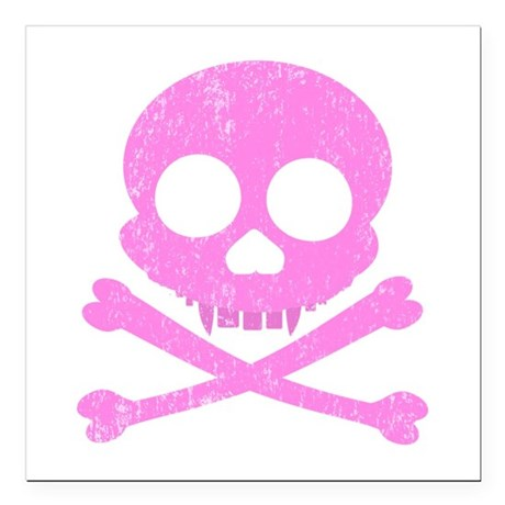 Distressed Pink Skull Square Car Magnet 3&quot; x 3&quot;