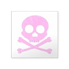 Distressed Pink Skull Square Sticker 3