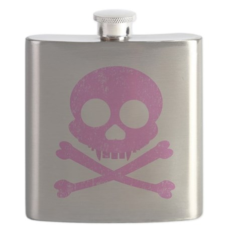 Distressed Pink Skull Flask