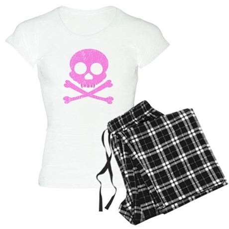 Distressed Pink Skull Women's Light Pajamas
