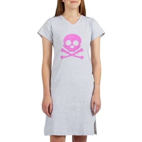 Distressed Pink Skull Women's Nightshirt