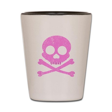 Distressed Pink Skull Shot Glass