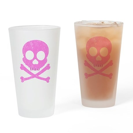 Distressed Pink Skull Drinking Glass