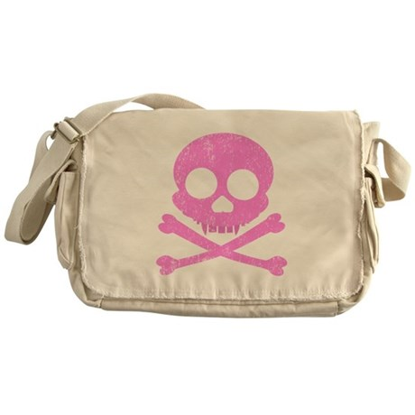 Distressed Pink Skull Messenger Bag