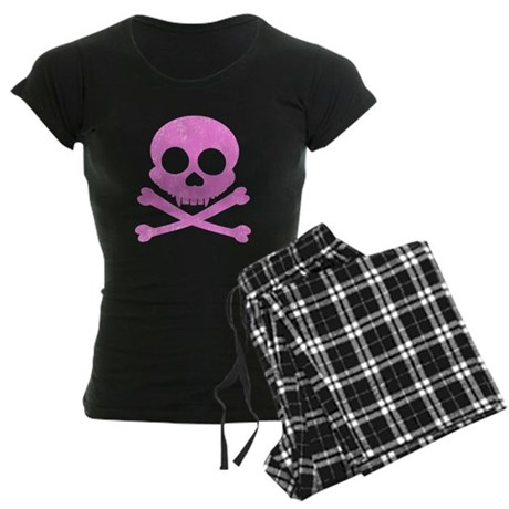Distressed Pink Skull Women's Dark Pajamas