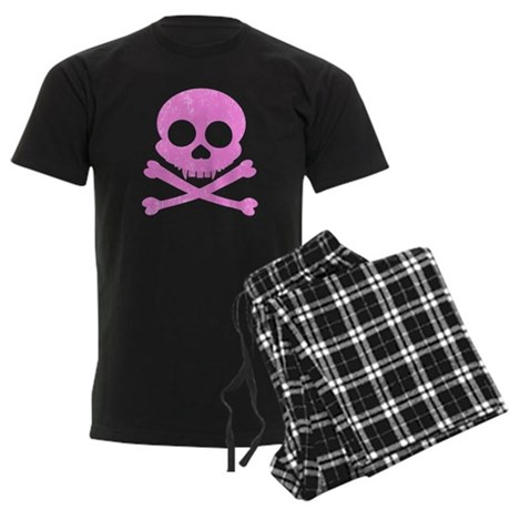 Distressed Pink Skull Men's Dark Pajamas