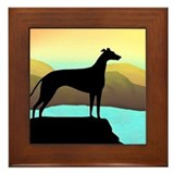 greyhound by the sea Framed Tile
