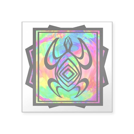 "Tiedye Turtle Square Sticker 3"" x 3"""