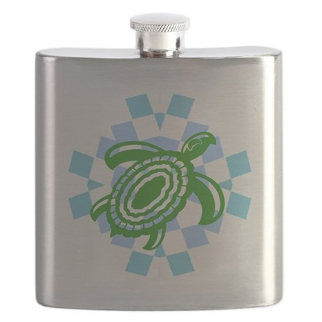Green Cutout Turtle Flask