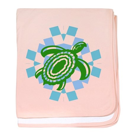 Green Cutout Turtle baby blanket