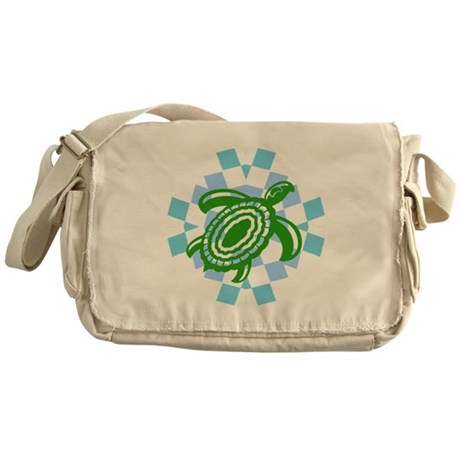 Green Cutout Turtle Messenger Bag