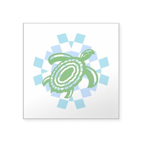 "Green Cutout Turtle Square Sticker 3"" x 3"""