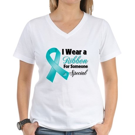 Special Ovarian Cancer Women's V-Neck T-Shirt