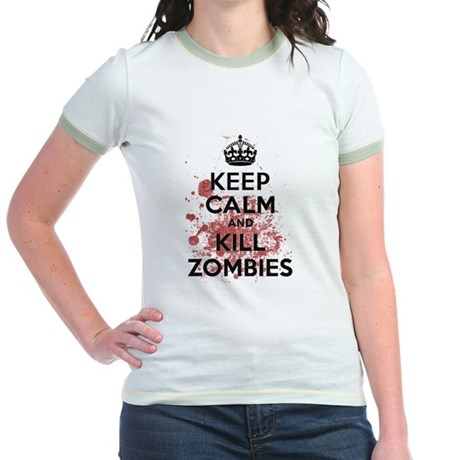 Keep Calm and Kill Zombies Jr Ringer T-Shirt