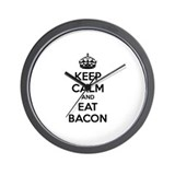 Keep calm and eat bacon Wall Clock