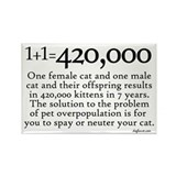 420,000 Cat Overpopulation Rectangle Magnet