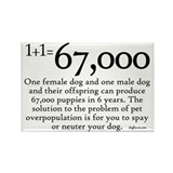 67,000 Dog Overpopulation Rectangle Magnet (100 pa
