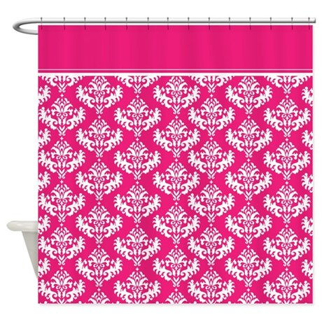 hot pink damask shower curtain