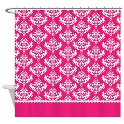 funky bright and girly hot pink damask shower curtain