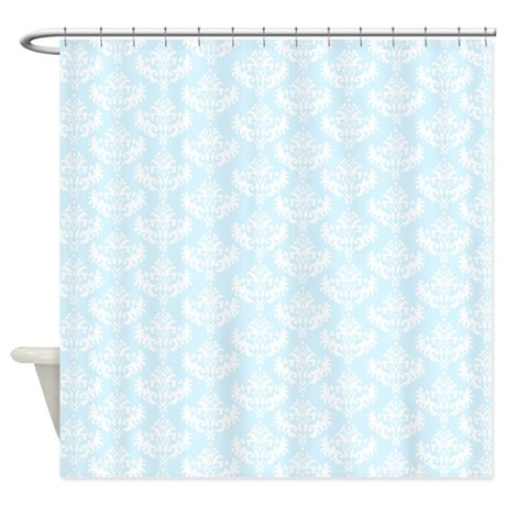 pastel blue damask shower curtain
