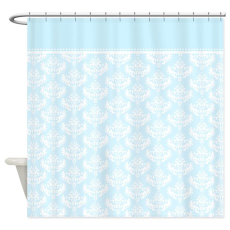 baby blue damask shower curtain