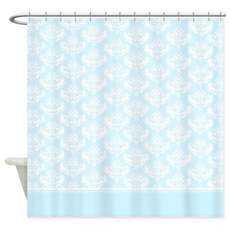 light blue damask shower curtain
