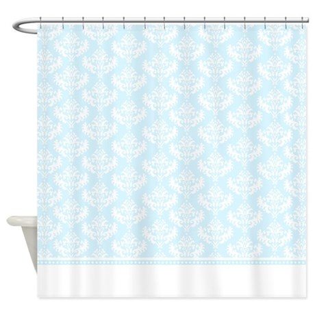 pale blue damask shower curtain