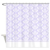 white and purple damask shower curtain