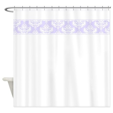 white shower curtain with purple damask top border / trim