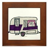 Cutie Purple VIntage Trailer Framed Tile
