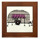 Vintage Airstream Camper Trailer Art Framed Tile