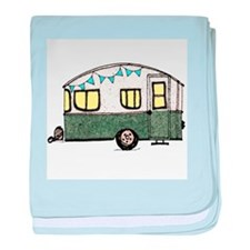 Vintage Camper Trailer with flags baby blanket