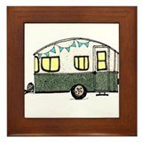 Vintage Camper Trailer with flags Framed Tile