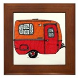 Cute orange boler camper Framed Tile