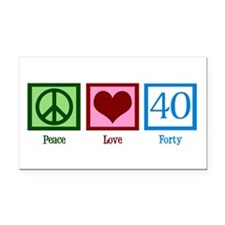 Peace Love 40 Rectangle Car Magnet