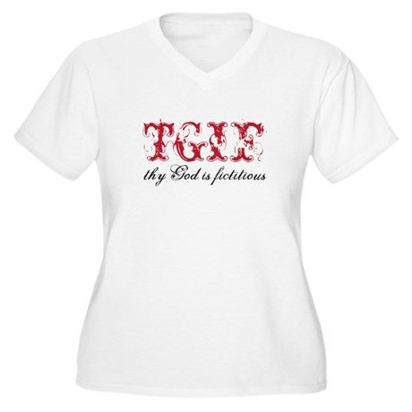 God is fictitious Women's Plus Size V-Neck T-Shirt
