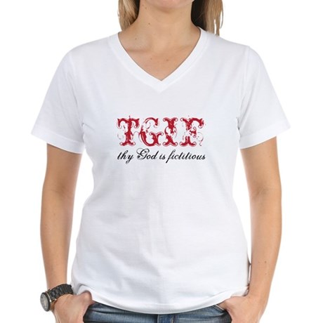 God is fictitious Women's V-Neck T-Shirt
