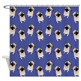 Sweet Pugs on Medium Blue