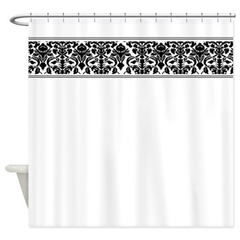 White shower curtain with fancy black damask trim